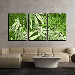 wall26 – 3 Piece Canvas Wall Art – Vector – Marijuana Background Eps 10 Vector Stock Illustration – Modern Home Decor Stretched and Framed Ready to Hang – 16″x24″x3 Panels